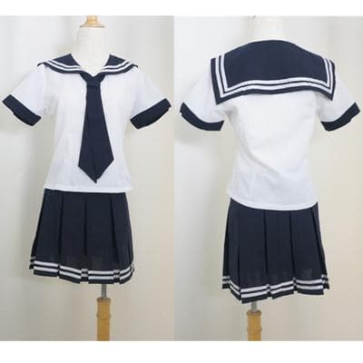S-2XL Sailor Collar White Top and Navy Pleated Skirt School Uniform Suit Set SP140988 - SpreePicky  - 1