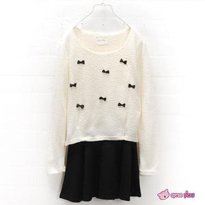 [S-2XL] Sweet Little Bows Fake 2 Pieces Knitting Dress SP151790 - SpreePicky  - 2