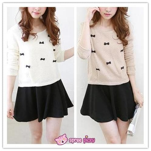 [S-2XL] Sweet Little Bows Fake 2 Pieces Knitting Dress SP151790 - SpreePicky  - 1