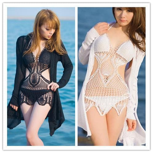 S-2XL White/Black Handmade One-piece Swimming Suit SP152484 - SpreePicky  - 1