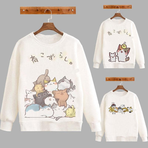 S-2XL White Neko Atsume Fleece Jumper SP178641