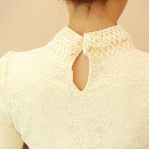 S-3XL Apricot Skinny Long-Sleeve Lace Shirt SP165541