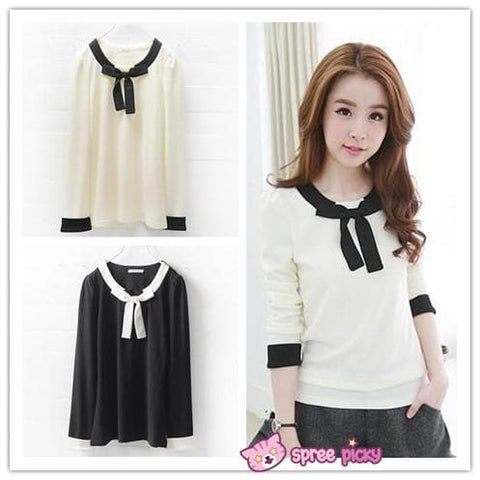 [S-3XL] Black/White Sweet Bow Long Sleeve T-shirt SP151789