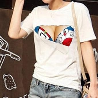 S-3XL White Funny Pattern 3D Bust Couples T-Shirt SP166095
