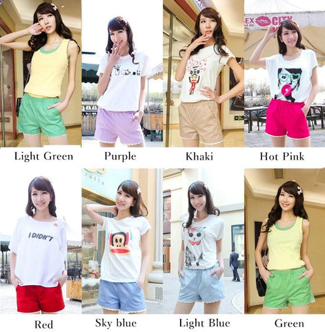 S-4XL 15 Colors Pastel Lace Summer Short SP152313 Page 1 - SpreePicky  - 3