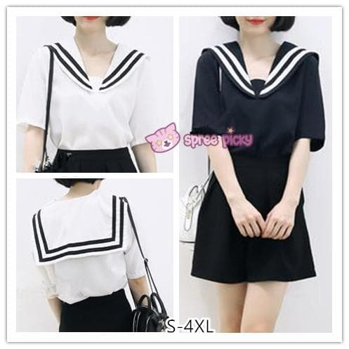S-4XL 3 Colors Summer Oversized Sailor Tee Shirt SP152514 - SpreePicky  - 1