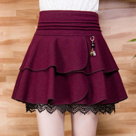 S-4XL Black/Dark Red High Waist Woolen Bubble Skirt SP168543