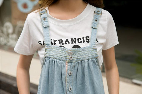 S-4XL Blue Denim Sweet Girl Suspender Dress SP153321 - SpreePicky  - 5