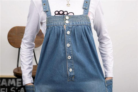 S-4XL Blue Denim Sweet Girl Suspender Dress SP153321 - SpreePicky  - 8