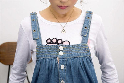 S-4XL Blue Denim Sweet Girl Suspender Dress SP153321 - SpreePicky  - 7