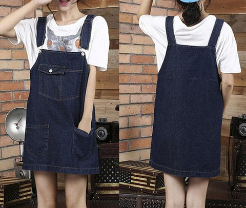 S-4XL Light Blue/Navy Blue Leisure Suspenders Denim Dress SP165649