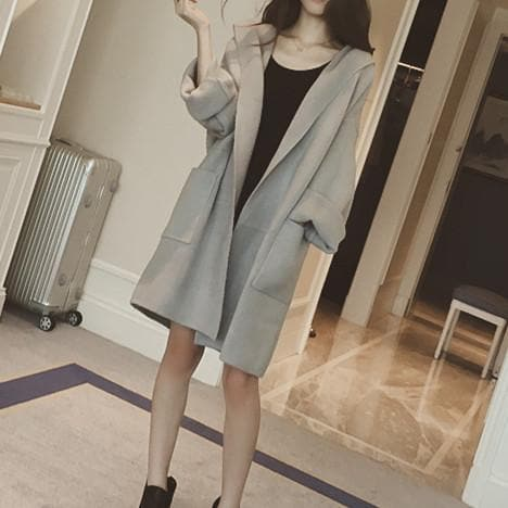 S-4XL Pink/Grey Oversized Hoodie Woolen Coat SP178709