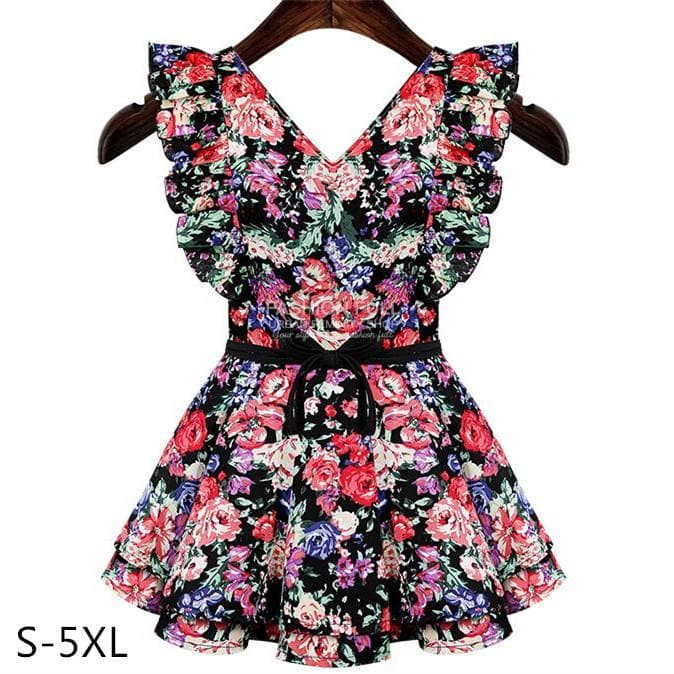 S-5XL Flying Butterflies in Floral Dress SP152447 - SpreePicky  - 1
