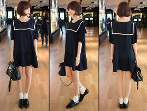 S-7XL Black/Navy colors Simple Sailor Girl Dress SP152474 - SpreePicky  - 2