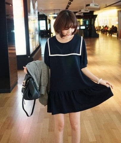 S-7XL Black/Navy colors Simple Sailor Girl Dress SP152474 - SpreePicky  - 3