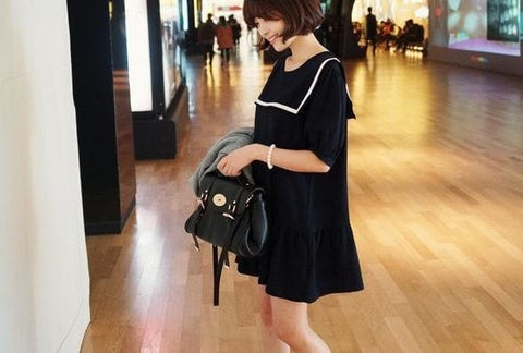 S-7XL Black/Navy colors Simple Sailor Girl Dress SP152474 - SpreePicky  - 6