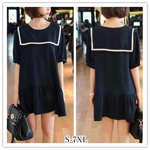 S-7XL Black/Navy colors Simple Sailor Girl Dress SP152474 - SpreePicky  - 1