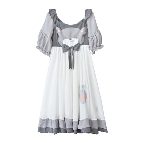 S-L Grey/Light Brown Kawaii Bear Dress SP179870