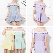 Load image into Gallery viewer, S-XL 4 Colors Falbala Off Shoulder Dress SP166449 Kawaii Aesthetic Fashion - SpreePicky