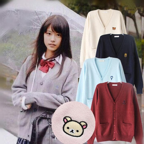 S-XL 8 Colors Kawaii Knitting Uniform Cardigan SP168404