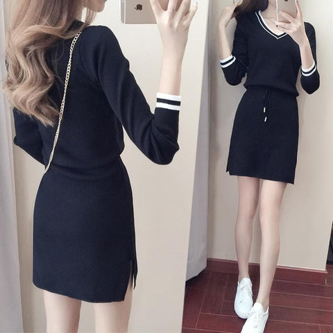 S-XL Black/Navy Long Sleeve Bodycon Knitting Dress SP168393