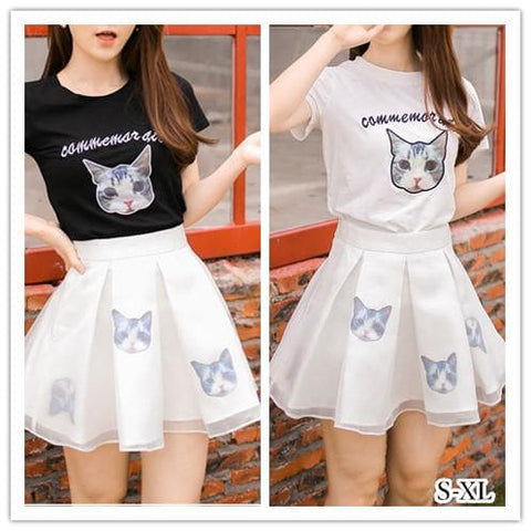 S-XL Black/White Japanese Kitty 2 Piece Dress SP152298 - SpreePicky  - 2