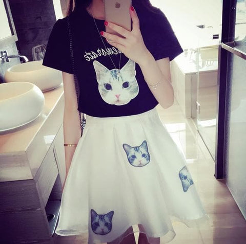 S-XL Black/White Japanese Kitty 2 Piece Dress SP152298 - SpreePicky  - 3