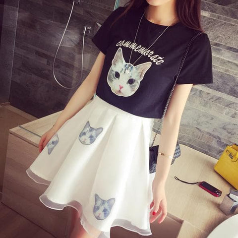 S-XL Black/White Japanese Kitty 2 Piece Dress SP152298 - SpreePicky  - 4