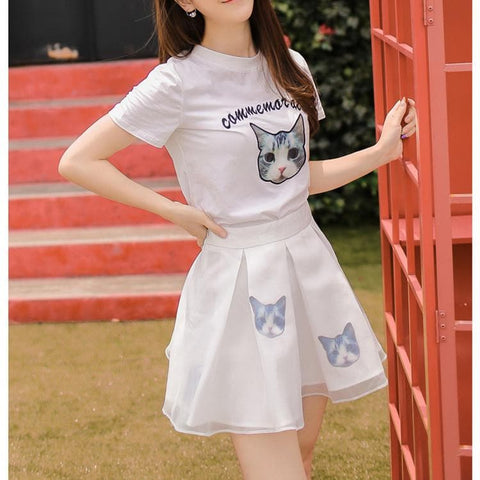S-XL Black/White Japanese Kitty 2 Piece Dress SP152298 - SpreePicky  - 5