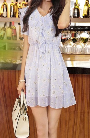 S-XL Blue/Pink Sweet Princess Floral Printing Chiffon Dress SP166089