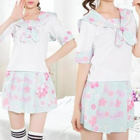 S-XL Blue Cherry Blossom Sailor Seifuku Set with Sakura Bow SP168171