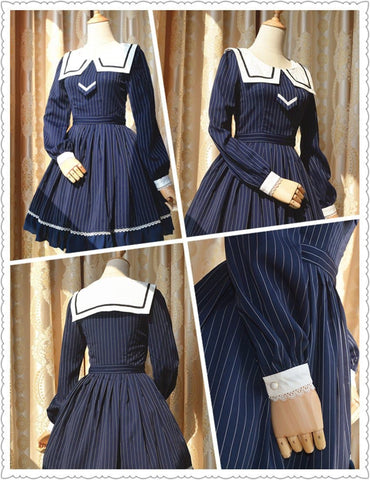 S-XL Blue Lolita Striped Seifuku Dress SP165448