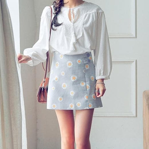 S-XL Pastel Cute Daisy High Waist Skirt SP166394