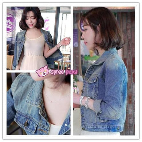 S-XL Denim Blue Classic Short Jacket SP151933 - SpreePicky  - 2