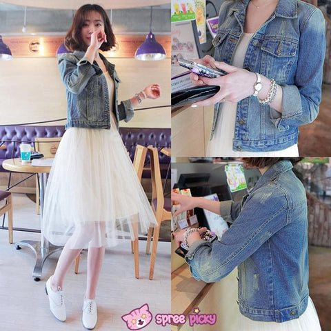 S-XL Denim Blue Classic Short Jacket SP151933 - SpreePicky  - 1