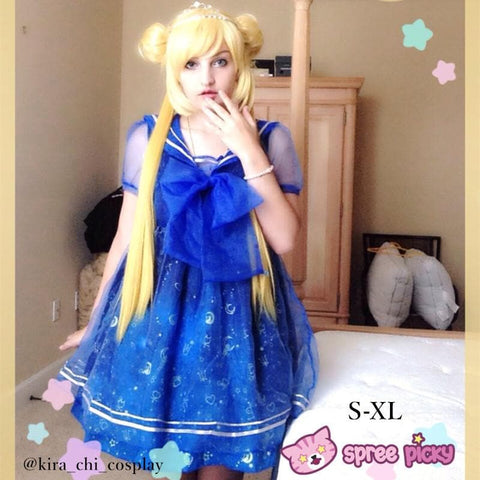 S-XL Dreamy Sailor Moon Organza Sailor Collar OP Dress Few Stock SP141133