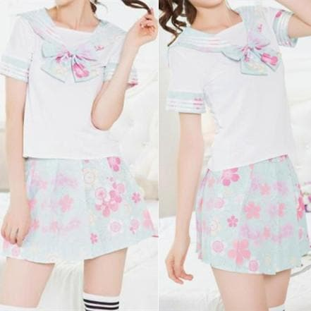 [S-XL] J-Fashion Blue  Sakura Sailor Seifuku Set SP168170
