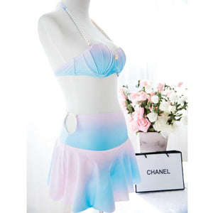 S-XL Pastel Mermaid Swimsuit Sea Shell Bikini and Skirt Set SP167361