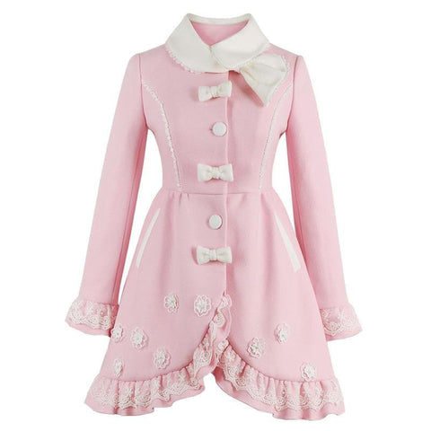 S-XL Pink Sweet Bowknot Woolen Coat SP168386