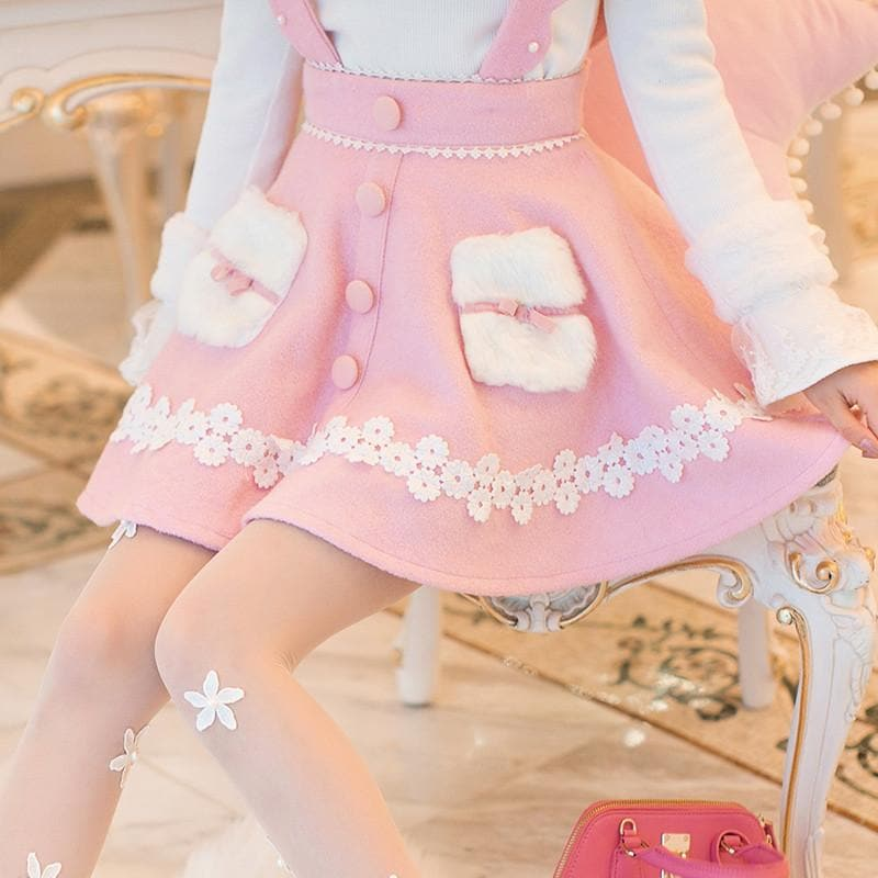 S-XL Pink Sweet High Waist Woolen Suspender Skirt SP168552