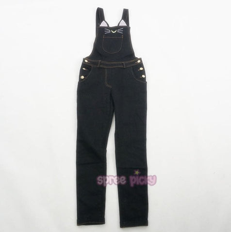 S-XL Sailor Moon Luna Black Cat Suspender Overalls Pants SP165349