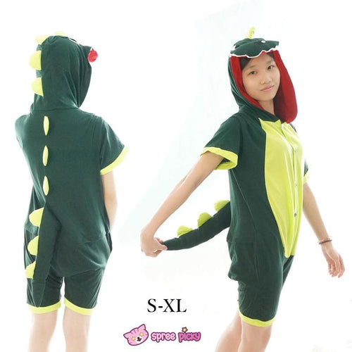S-XL Unisex Green Dinosaur Animal Summer Onesies Kigurumi Jumpersuit Nightwear Pajamas SP152039 - SpreePicky  - 1