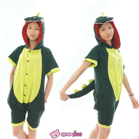 S-XL Unisex Green Dinosaur Animal Summer Onesies Kigurumi Jumpersuit Nightwear Pajamas SP152039 - SpreePicky  - 2
