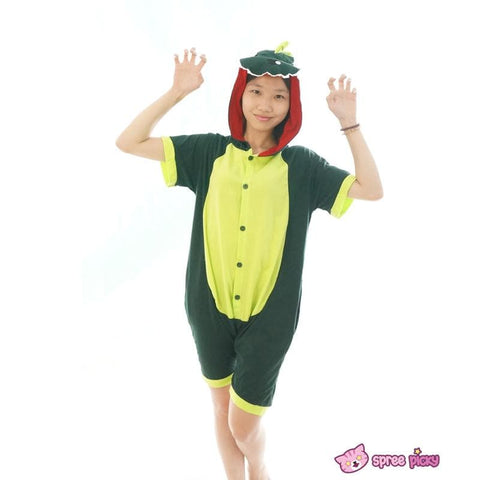 S-XL Unisex Green Dinosaur Animal Summer Onesies Kigurumi Jumpersuit Nightwear Pajamas SP152039 - SpreePicky  - 5