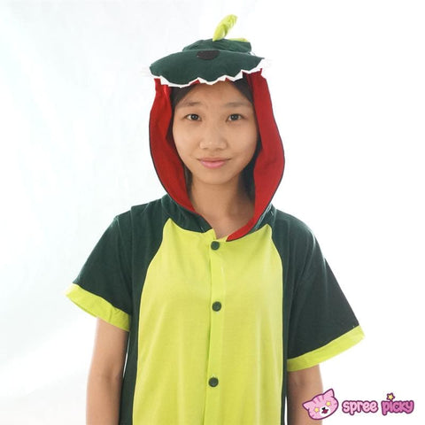 S-XL Unisex Green Dinosaur Animal Summer Onesies Kigurumi Jumpersuit Nightwear Pajamas SP152039 - SpreePicky  - 6