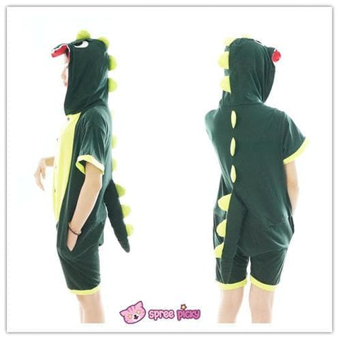 S-XL Unisex Green Dinosaur Animal Summer Onesies Kigurumi Jumpersuit Nightwear Pajamas SP152039 - SpreePicky  - 3