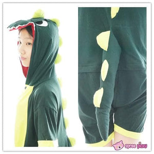 S-XL Unisex Green Dinosaur Animal Summer Onesies Kigurumi Jumpersuit Nightwear Pajamas SP152039 - SpreePicky  - 4