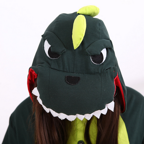 S-XL Unisex Green Dinosaur Animal Summer Onesies Kigurumi Jumpersuit Nightwear Pajamas SP152039 - SpreePicky  - 7