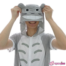 Load image into Gallery viewer, S-XL Unisex Grey Totoro Summer Onesies Kigurumi Jumpersuit Nightwear Pajamas SP152038 - SpreePicky  - 3