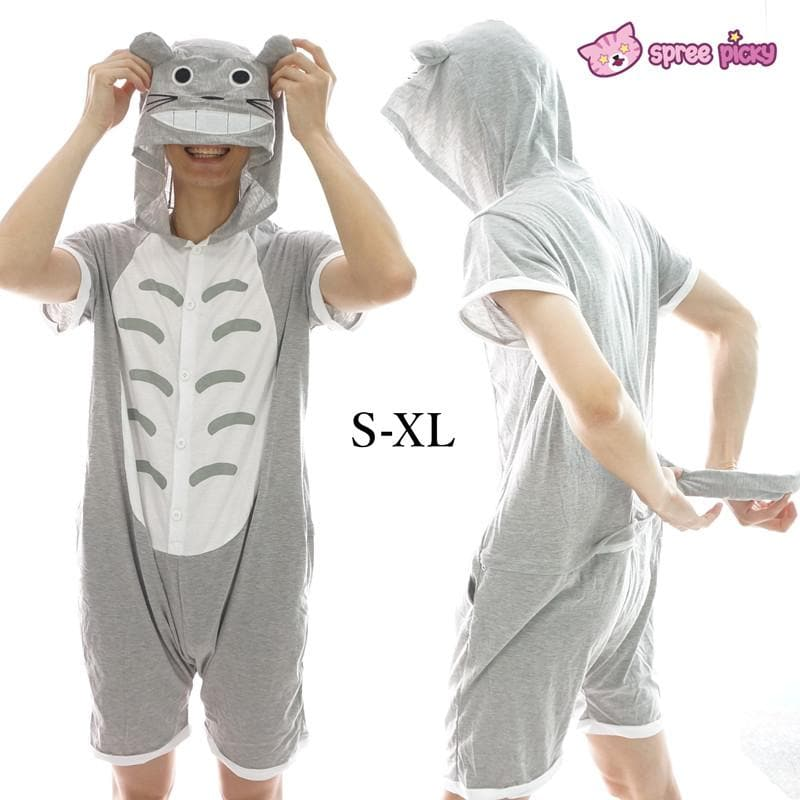 S-XL Unisex Grey Totoro Summer Onesies Kigurumi Jumpersuit Nightwear Pajamas SP152038 - SpreePicky  - 1